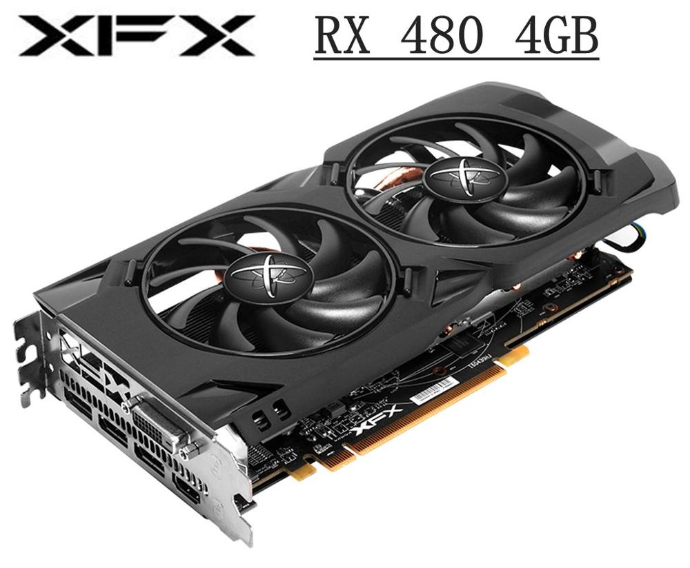 Used XFX RX 480 4G Video Card 4GB 256bit PCI Express 3.0 computer GAMING graphics card HDMI DVI DisplayPort