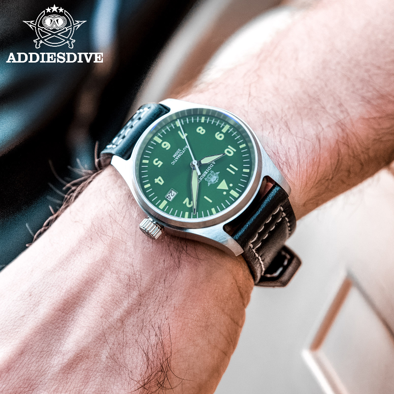 Automatic Mechanical Men's watch Sapphire Crystal Stainless Steel NH35 Pilot watch1940  Leather Waterproof automatic watch men 4