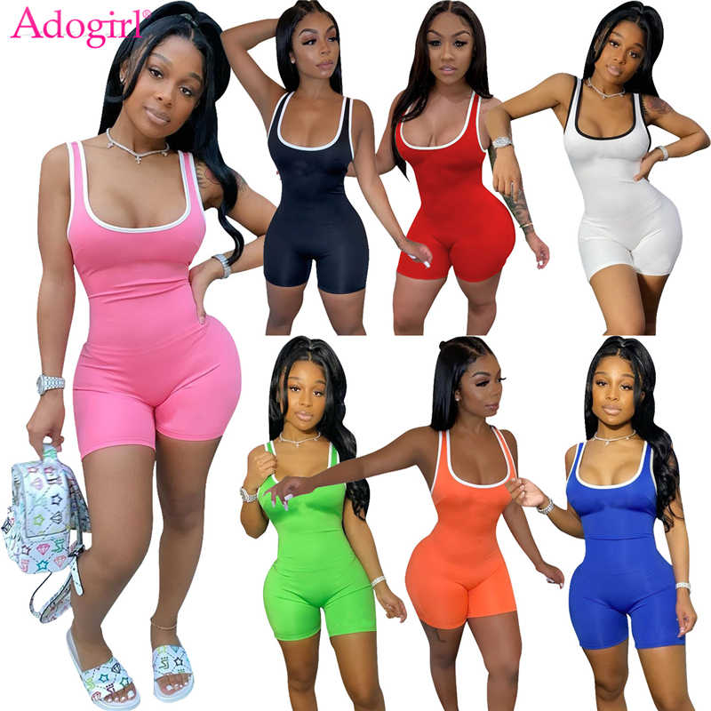 Adogirl Streep Patchwork Vrouwen Trainingspak Casual Sportief Jumpsuit 2020 Zomer Comfortabele Tank Romper Club Playsuit Overalls