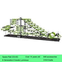 Space Rail 6 Levels Glow in dark 233-6G Roller Coaster Space Ball Model Building Kits DIY Educational Toys for Children цена в Москве и Питере