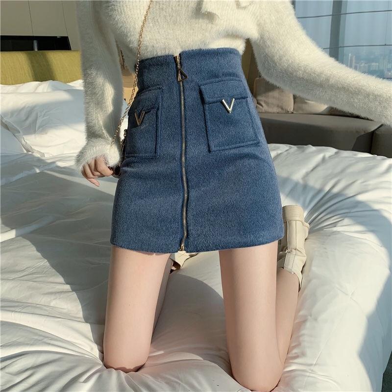 EACHIN Women High Waist Tweed Skirt Women Autumn Winter Fashion Front Zip Slim A Line Mini Skirt Female Sexy Korean Bottom Skirt