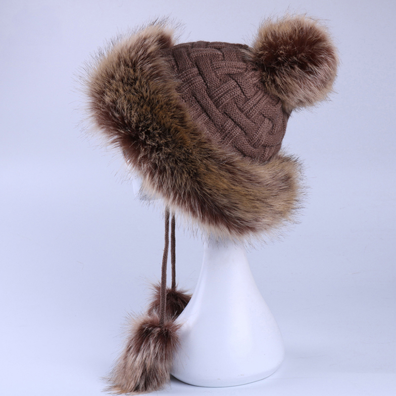 Faux Fox Fur Ushanka Russain Cossack Fluffy Pompom Bomber Hats Earflap Female Winter Fleece Snow Ski Caps Trapper Aviator Cap