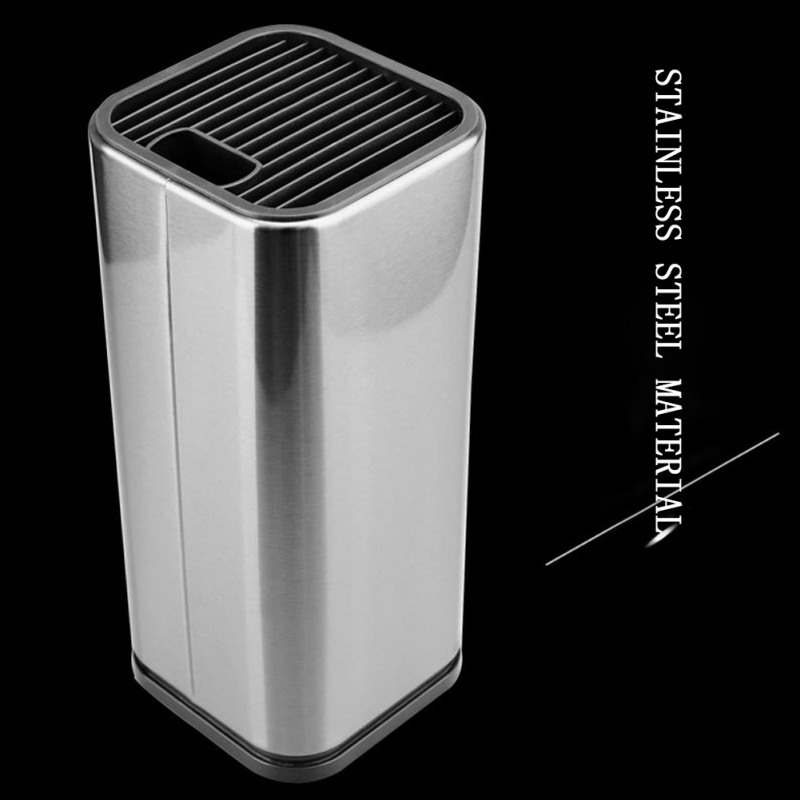 Unique Stainless Steel Knife Holder Household Knife Storage Bucket With Drain Hole  Kitchen Supplies Knives Accessories