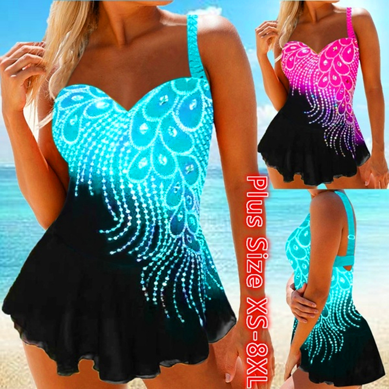 Womens Feather Print Tankini Swimwear with Brief Swim Costume Two Piece Tummy Control Swimsuit High Waist Bathing Suit Plus Size title=