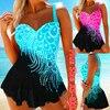 Womens Feather Print Tankini Swimwear with Brief Swim Costume Two Piece Tummy Control Swimsuit High Waist Bathing Suit Plus Size