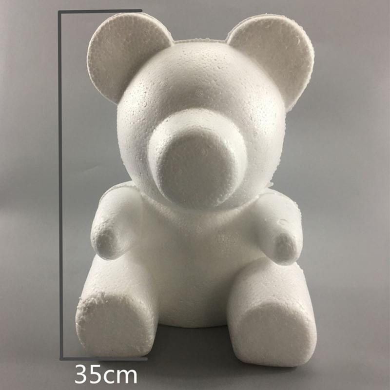 Lightweight Foam Bear Mold Memorable Valentine's Day Cute White Party Wedding Gift Rose Romantic Decorative DIY Flower