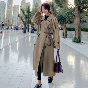 Chic Cloak Trench Coat Women Khaki Long Windbreaker Coats Spring Autumn Stylish Loose Dust Sashes Female Clothes