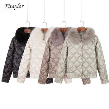 Fitaylor femmes doudoune hiver chaud Ultra léger col réel veste courte blanc canard vers le bas Parka élégant manteau Outwear