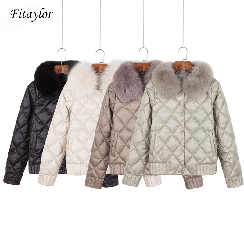 Fitaylor Women Down Jacket Winter Warm Ultra Light Real Collar Short Jacket White Duck Down Parka Elegant Coat Outwear