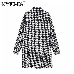 Image 2 - Vintage stylowa ponadgabarytowa kurtka Houndstooth płaszcz kobiety 2020 modne etui postrzępione boczne otwory wentylacyjne luźna w kratę odzież wierzchnia eleganckie koszule