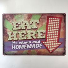 Tin Sign Vintage Diner Decorative Art-Painting Metal Poster Homemade Plaque Hotel Here