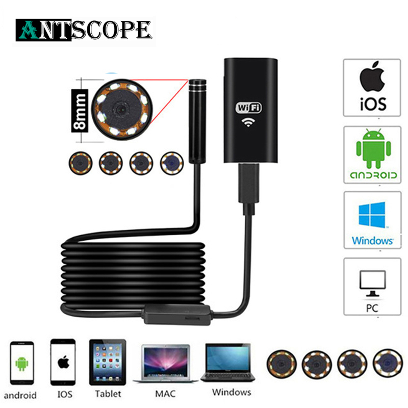 Antscope  8mm Wifi Endoscope HD Camera For Android IPhone Borescope 2 5 10M 1200P Endoscope Inspection Pipe Waterproof Camera 19