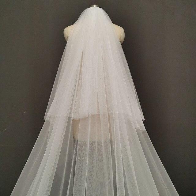 Fotos reais 2 camadas longo véu de casamento 4 m laço véu nupcial com blusher 2 t branco marfim alta qualidade véu para a noiva 4