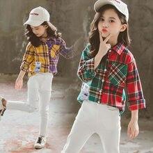 Fashion Kids Girls Autumn Shirts Plaid Asymmetric Color Patchwork Lapel Jacket Blouse Teens Top Outwear Outfits Children Clothes