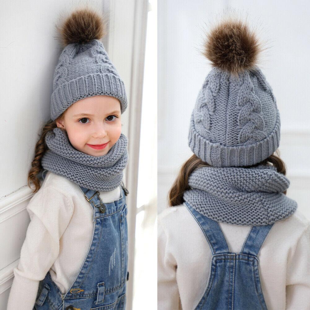 New Hat Scarf Suit Children Boy Girl Pom Hat Winter Crochet Knit Beanie Cap Scarf Keep Warm Solid Color Set 2 PCS