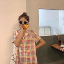 Women Summer Plaid Shirt Dress Notched Collar Dress Straight