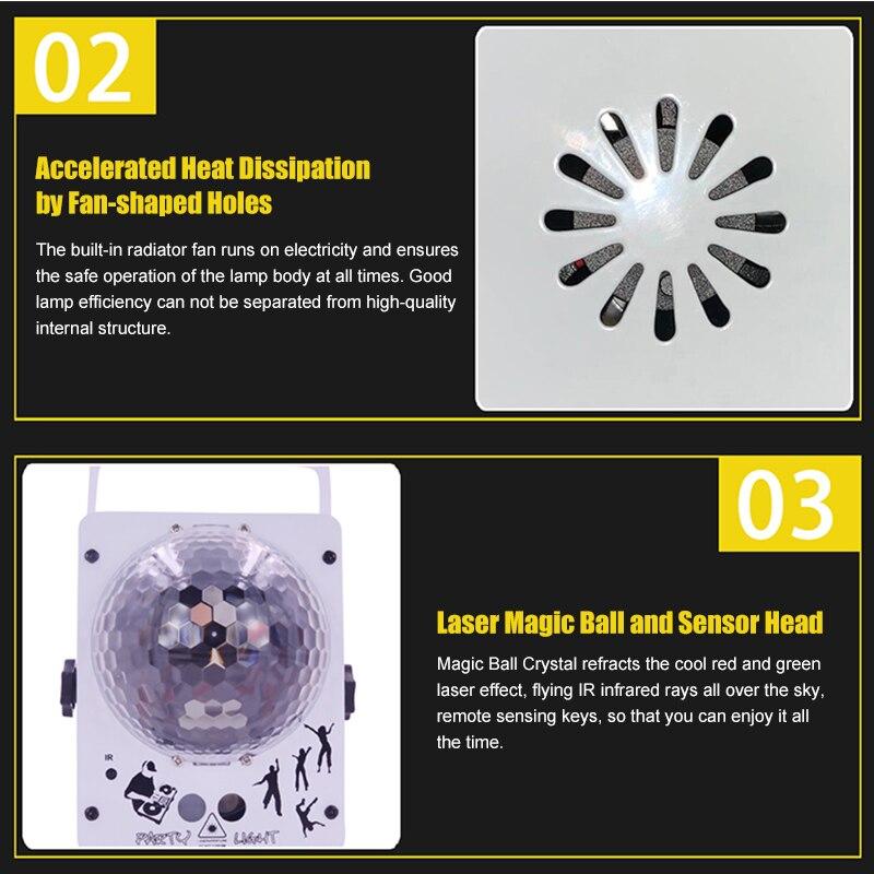 Atotalof rvb éclairage de scène 60 modèles projecteur Laser son activé boule Disco effet d'éclairage de fête pour noël KTV mariage - 4