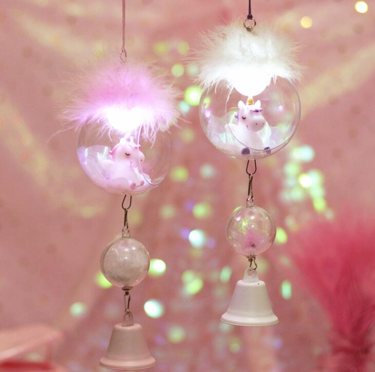 Pink Girl Heart Ins Wind Unicorn Night Light Wind Bell with Light Home Decoration