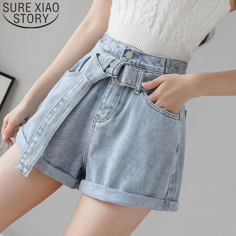 2020 New Korean Women's Denim Shorts Vintage High Waist Blue Wide Leg Female Caual Summer Ladies Shorts Jeans For Women 8941 50