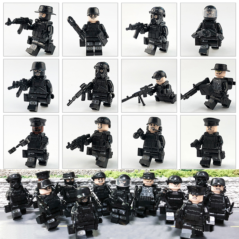 12pcs/set Legoinglys Military SWAT Teams MiniFigure City Police Weapon Model Building Blocks Kits Bricks Toys For Children Gifts