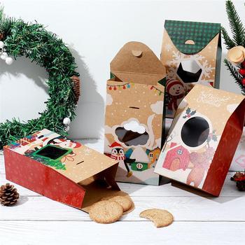 Hemoton 16 sztuk ciasteczka świąteczne pudełka Kraft pudełka papierowe 4 wzory pudełka na prezenty cukierki pudełka na boże narodzenie Party wakacje bankiety tanie i dobre opinie CN (pochodzenie) 16 x Hemoton Christmas Cookie Boxes
