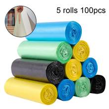 100Pcs/5 Roll Disposable Home Hotel Thick Trash Holder Rubbish Pouch Garbage Bag 2020(China)