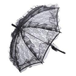 Koronkowy parasol koronka ślubna z motywem kwiatowym panna młoda parasol czarny w Parasole od Dom i ogród na