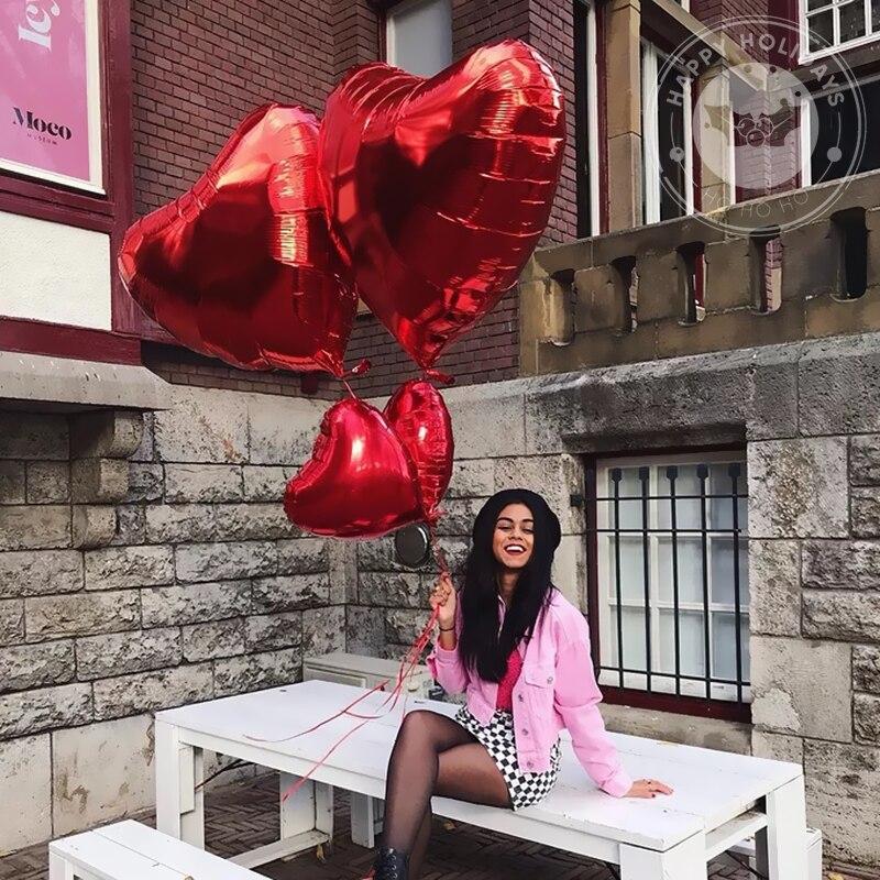 18 polegadas folha de amor coração balões de hélio ano globos suprimentos dia dos namorados novo casamento aniversário do bebê chuveiro 1 ballon vermelho 10 pçs