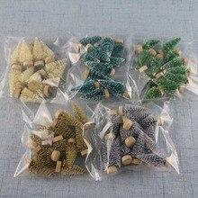 12 piezas Mini árbol de Navidad Sisal seda cedro-decoración pequeño árbol de Navidad-oro azul verde blanco Mini árbol