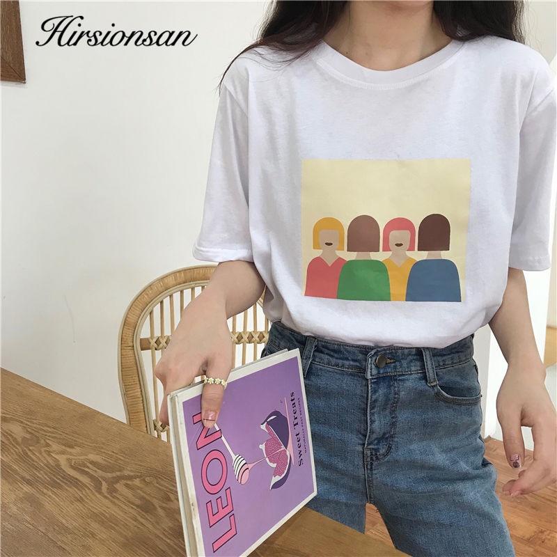 Hirsionsan Cartoon Printed T Shirt Women 2020 Harajuku Kawaii Short Sleeve Cotton Female Jumper Chic Korean Loose Ladies Tops