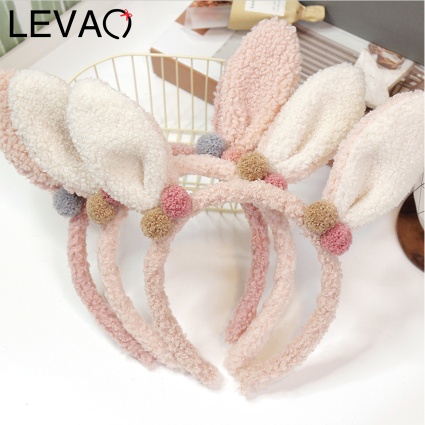 Levao Cashmere Rabbit Ear Headband Christmas Party Hair Band Lovely Girls Head Hoops Headwear Hair Bezel Hair Accessories
