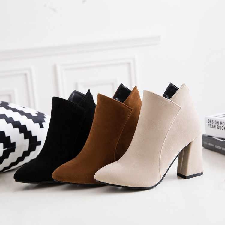 Büyük boy 9 10 11 12 çizmeler kadın ayakkabıları yarım çizmeler kadınlar için bayan bot ayakkabı kadın kış süet yan fermuar ucu kalın topuk