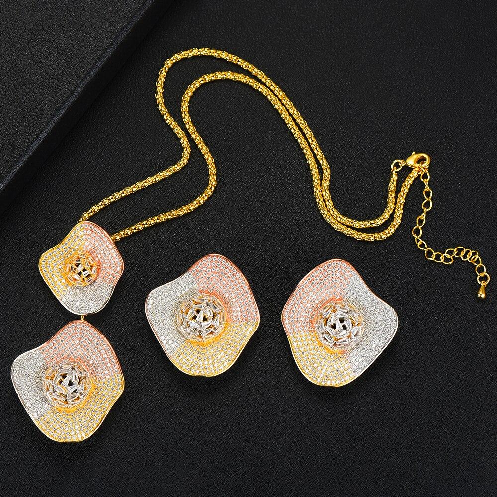 SISCATHY Noble Dubai femmes mariage goutte pendentif boucles d'oreilles collier ensemble de bijoux Fine Super CZ nouveau Design accessoires de mode