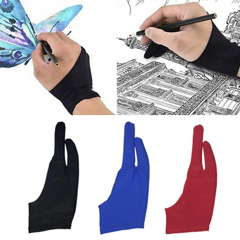 1pc 2 Finger Gloves Painting Drawing Anti-fouling Digital Board Anti-missing Anti-sweat Sketch Writing Drawing Curved Pen Refill