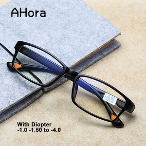 Ahora TR90 Finished Myopia Glasses Ultralight Student Optical Glasses Frame Myopia Women Men With Diopter 0 -1.0 1.5 2.0 2.5 3 4