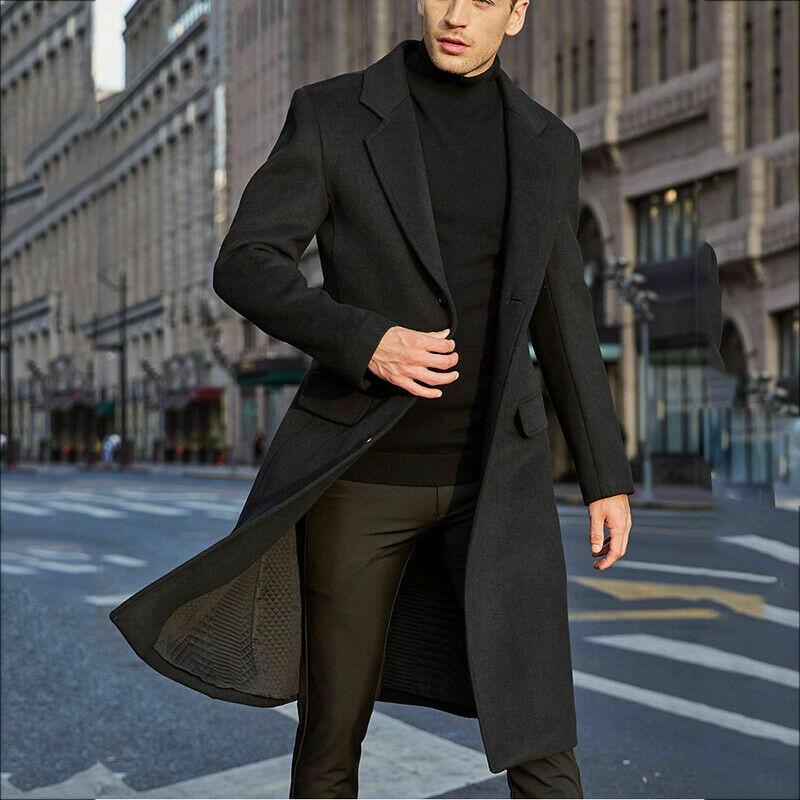Autumn And Winter Solid Windbreaker Jacket 2020 New Men's Coat  Fashion Long Trench Coats Lapel Business Overcoat Parka S-2XL