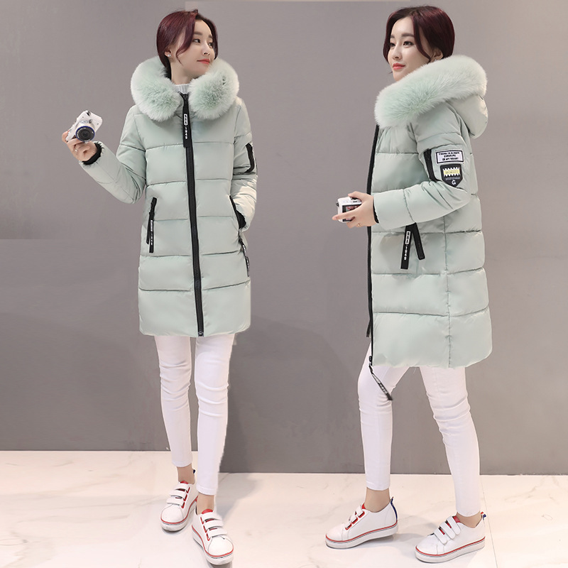 2018 New Style WOMEN'S Dress Winter Style Korean-style Hooded Large Fur Collar down Jacket Cotton-padded Clothes Women's Mid-len
