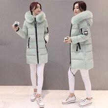 Стиль, женское платье, зимний стиль, корейский стиль, с капюшоном, большой меховой воротник, пуховик, хлопковая стеганая одежда, женская одежда средней длины