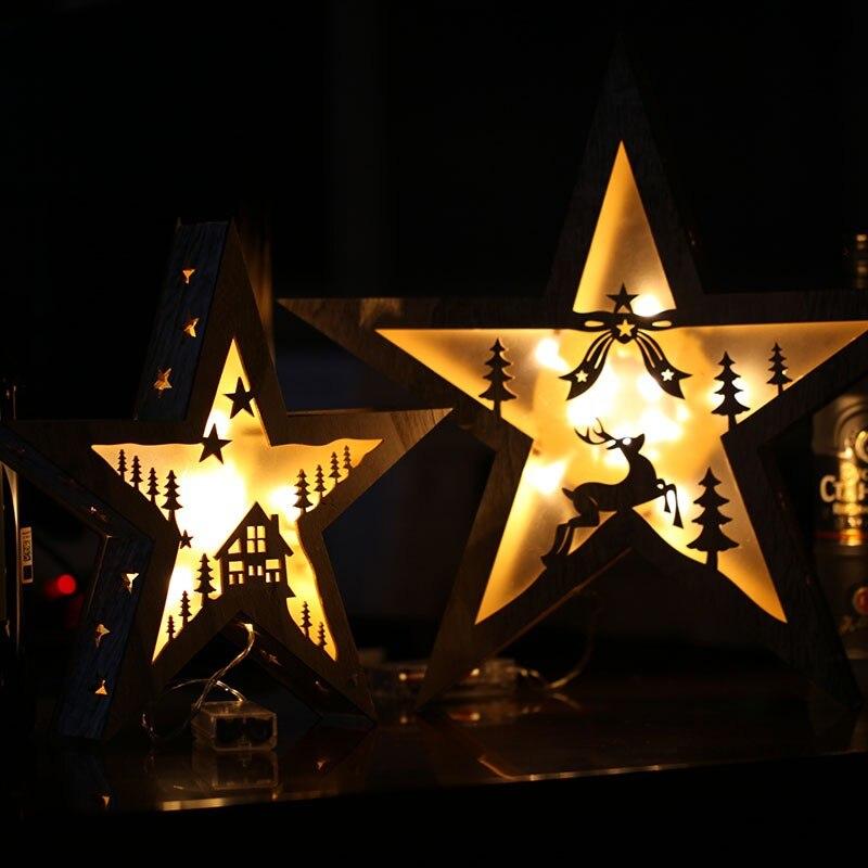 Noël en bois LED lumières artisanat pentagramme pendentif lampe de Table clignotant étoile lumières cadeaux d'anniversaire
