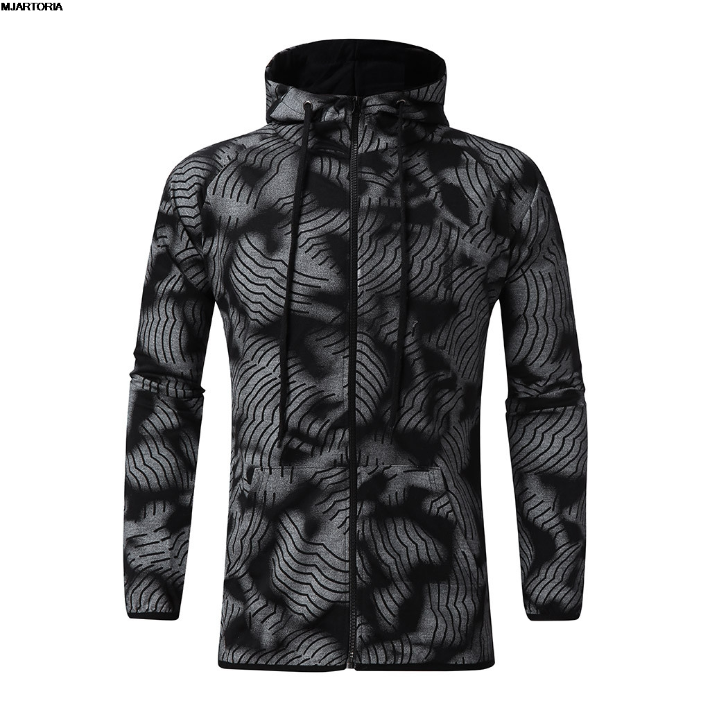 Sports Suit Sweatshirt Hoodies Zipper Hippop Autumn Men's New-Fashion Print MJARTORIA