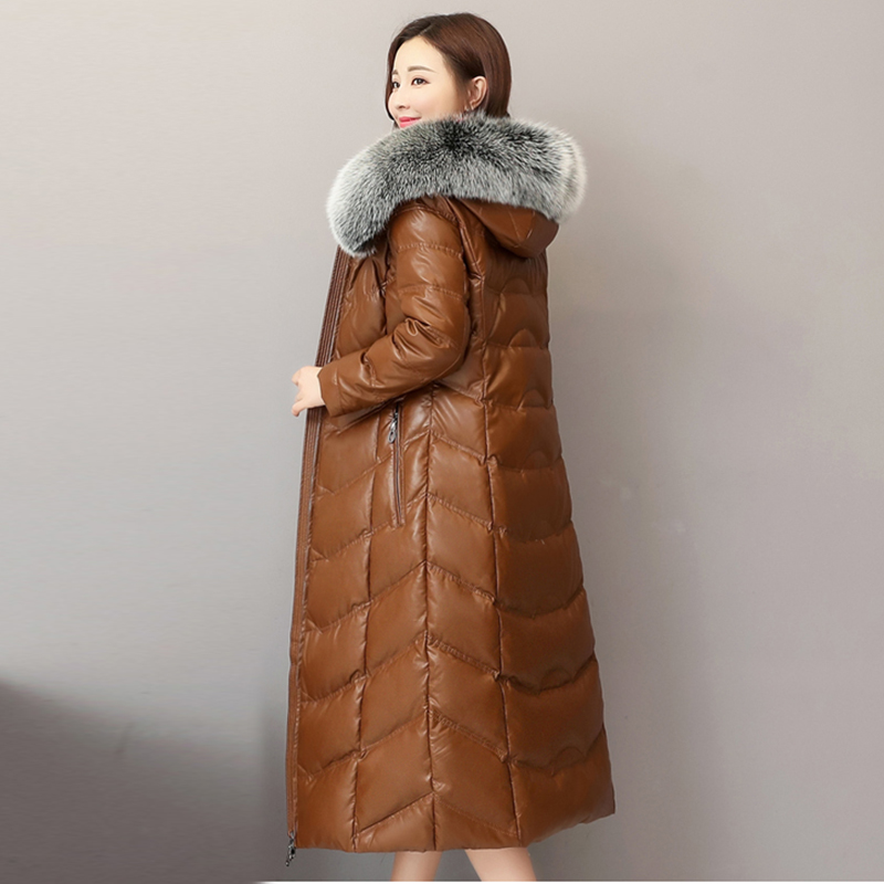 High Quality Winter Women Sheep Leather Down Jacket 2019 Big Fox Fur Collar Hooded Coat Female Plus Size Thicken Warm Long Coats