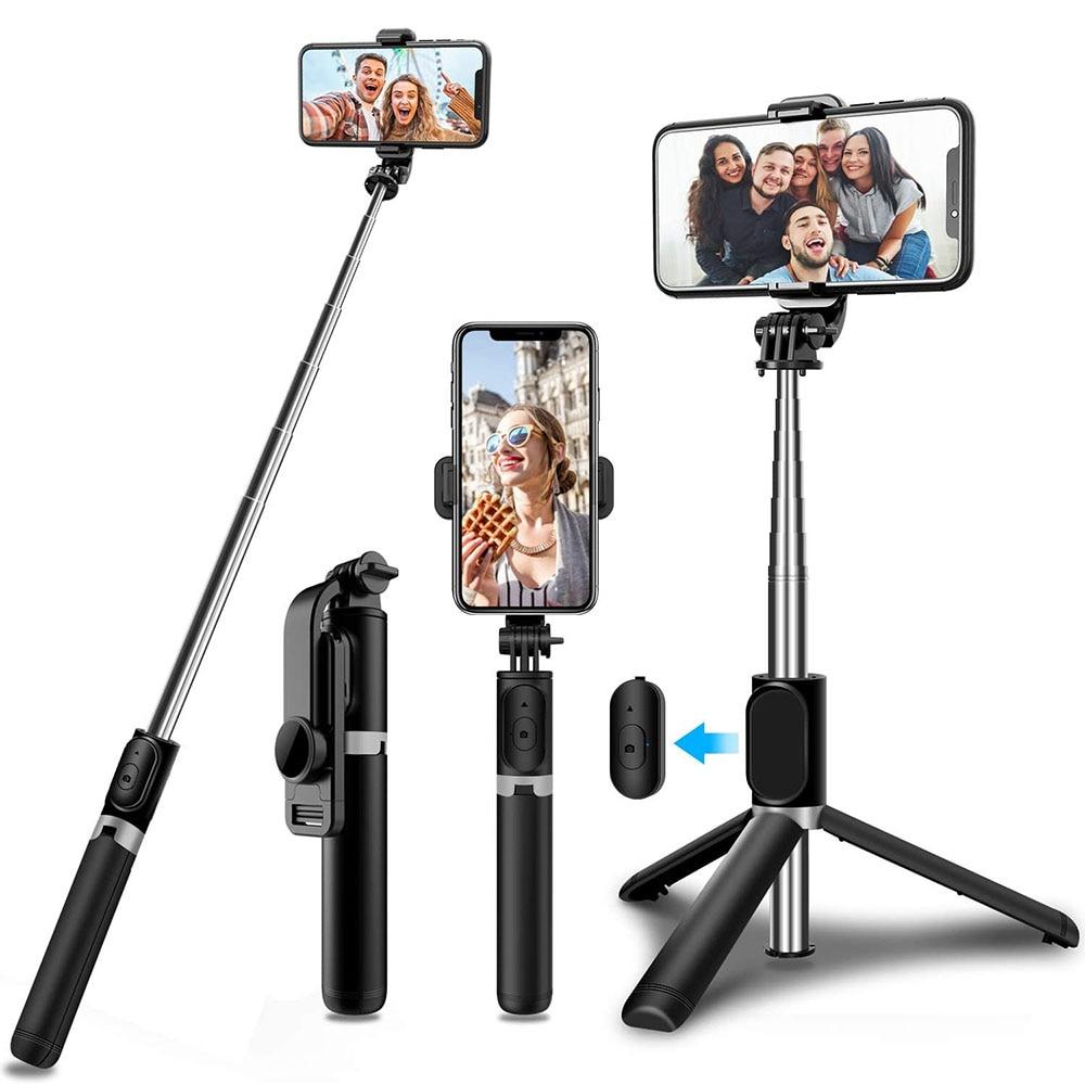 Trépied et bâton de Selfie sans fil Bluetooth, monopode pliable universel pour Xiaomi Mi Redmi Huawei Honor iPhone Samsung Gopro Go Pro 9