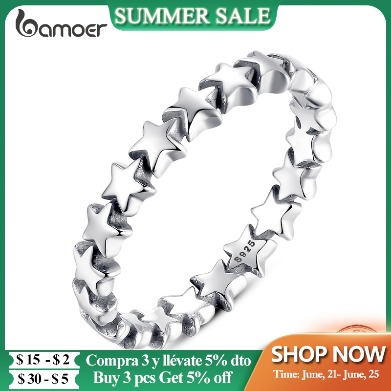 BAMOER 2021 HOT SALE Silver 925 Star Ring For Women Wedding 100% 925 Sterling Silver Stackable Finger Ring Jewelry PA7151