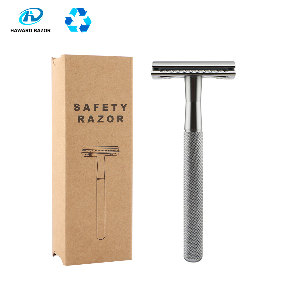 HAWARD Safety Razor Men's Double Edge Razor Zinc Alloy Manual Shaving Razor Chrome Silver Women Hair Removal Shaver 20 Blades