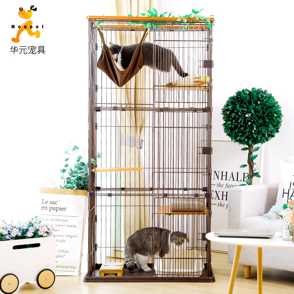 Cat Double Layer Cat Cage Solid Wood Cat Villa Household Wooden Three Layer Large Size Cattery Cat Nest Indoor Small Cat House