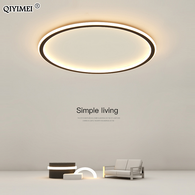 Simple Modern Led Chandelier Lights For Living Room Bedroom Study Room White Black Indoor Ceiling Fixtures Dimmable AC110V 220V