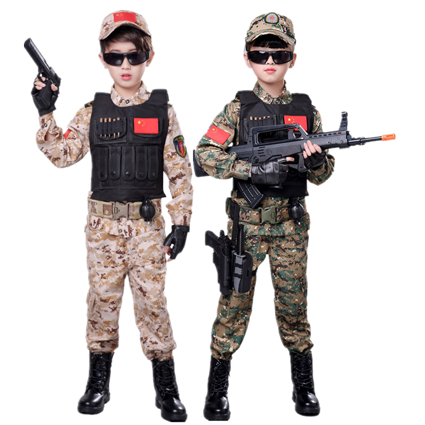 Soldier Cosplay Camouflage Army Suit Disguise Tactical Fancy Clothing Halloween Costume For Kids Party Military Uniform Team