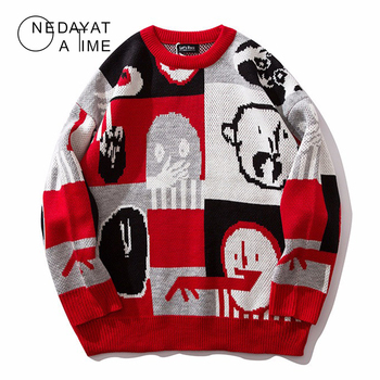 New Men Sweaters Patchwork Streetwear Pullover O-neck Long Sleeve Hip Hop Men Autumn Harajuku Couple Sweaters Loose Pullover Men