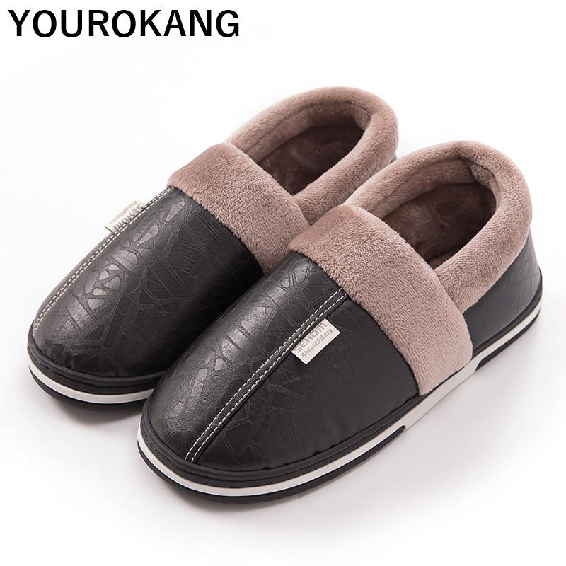 Men PU Leather Home Slippers Winter Warm Indoor Plush Slipper Unisex Couple Shoes Soft Cotton Footwear For Lovers Waterproof