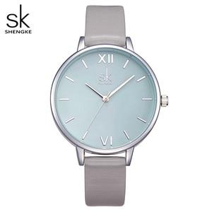Image 1 - Shengke Watches Women Fashion Watch 2020 New Elegant Dress Leather Strap Ultra Slim Wrist Watch Montre Femme Reloj Mujer